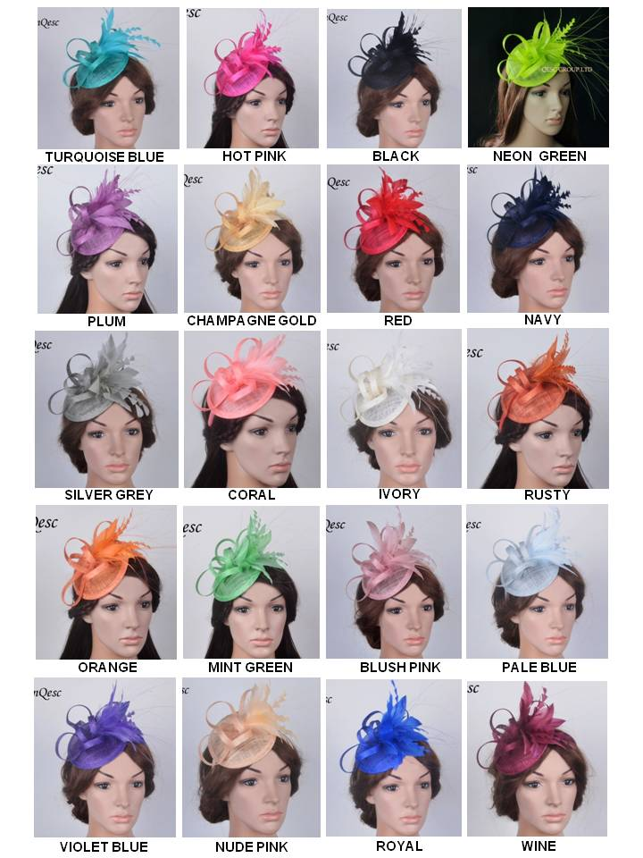 NEW 20 colors EMS FREE SHIPPING sinamay fascinator Feather fascinator Kentucky Derby races hat bridal headpiece