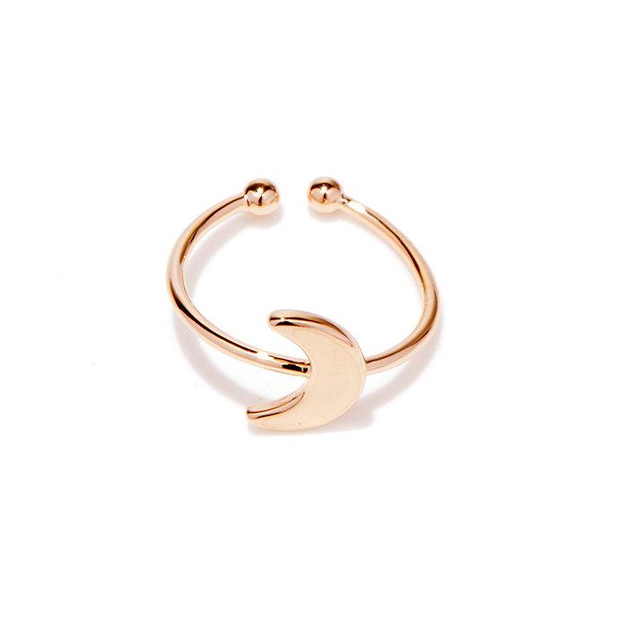 rose plated crescent moon ring womens fashion right hand ring ...