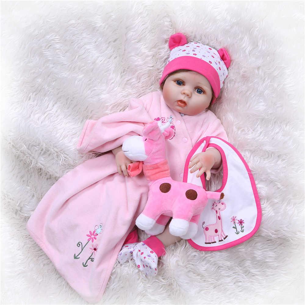 NPK 55 см реалистичный полный силиконовый винил Reborn Baby Doll игрушка для девочек мальчиков новорожденных куклы для детей подарки на день рождения детское платье