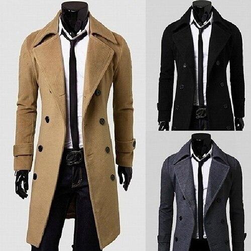 Veste Tranchée Manteau D'hiver Outwear khaki Mode Hommes Boutonnage Black À Double grey Longue De IY76gyvfb