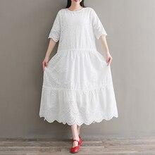 Весенне-летнее милое платье Mori girl, новые женские длинные платья из хлопка с коротким рукавом и кружевной вышивкой «кроше»
