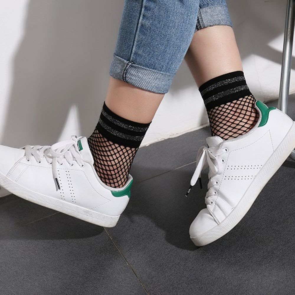 Fashion Sexy Ladies Flash Striped Short Ankle Hollow Out Sweet Nets Mesh Breathable Fishnet Casual Harajuku Designer Socks
