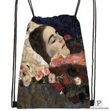 Custom Gustav_Klimt @2 Drawstring Backpack Bag Cute Daypack Kids Satchel (Black Back) 31x40cm#20180611-02-98