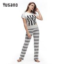 Yusano 2017 Summer Pajama Set Cotton Women Pijama de Unicornio O-neck Short Sleeve Stripe Pajama Pant Soft Grey Green Nightwear