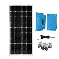 Солнечный Наборы панно solaire 100 Вт 12 В солнечной зарядки контроллера 10A 12 В/24 В ШИМ PV кабель Z Кронштейн для яхт караван motorhome