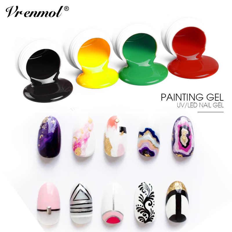 Vrenmol vernis à ongles tremper peinture 8 Ml couleurs pures LED solide/UV pour Gel de conception d'ongle
