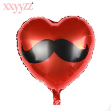 XXYYZZ Moustache Mr Beard Foil Balloon For Wedding Party Decoration Red Heart Love Helium Air Balloons Valentine's Day Suppliers