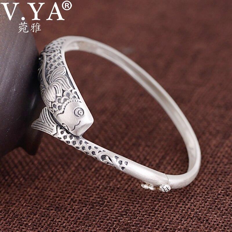V. YA vrai pur 990 Bracelet en argent Sterling femmes manchette Bracelets Bracelet poisson Lotus gravé Bracelet de prière