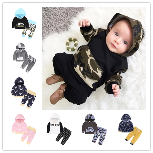 Hot selling high quality ins baby 2018 Spring and Autumn new arrival cotton newborn clothing animal print hooded 2pcs sets-in Clothing Sets from Mother & Kids    1