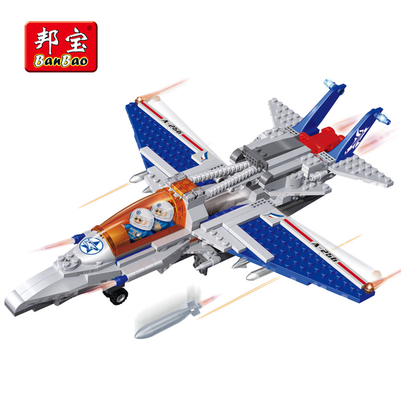 BanBao Military Fighter Army Aircraft Plane Building Blocks Bricks Educational Toys 8256 For Kids Children Compatible With Legoe