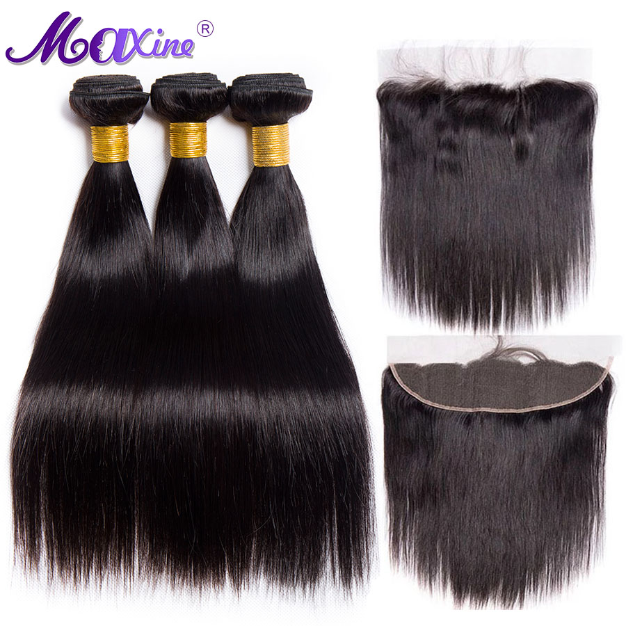 Maxine Straight Hair Bundles With Frontal 3 Bundle Human Hair Brazilian Lace Frontal Closure With Bundles Non Remy 4 pcs/lot-in 3/4 Bundles with Closure from Hair Extensions & Wigs    1