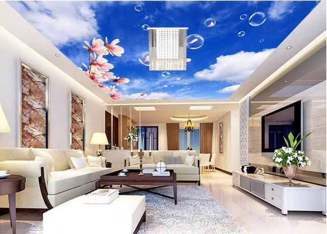Aanpassen 3d plafond muurschilderingen behang Cloud orchideeën ...