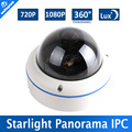 1.0MP/Luz Das Estrelas de 2MP POE IP Camera 720 P/1080 P CCTV Dome Ao Ar Livre, 0.0001Lux Day & Night Full Color, 5MP Fisheye Lens, 360 Graus Vista