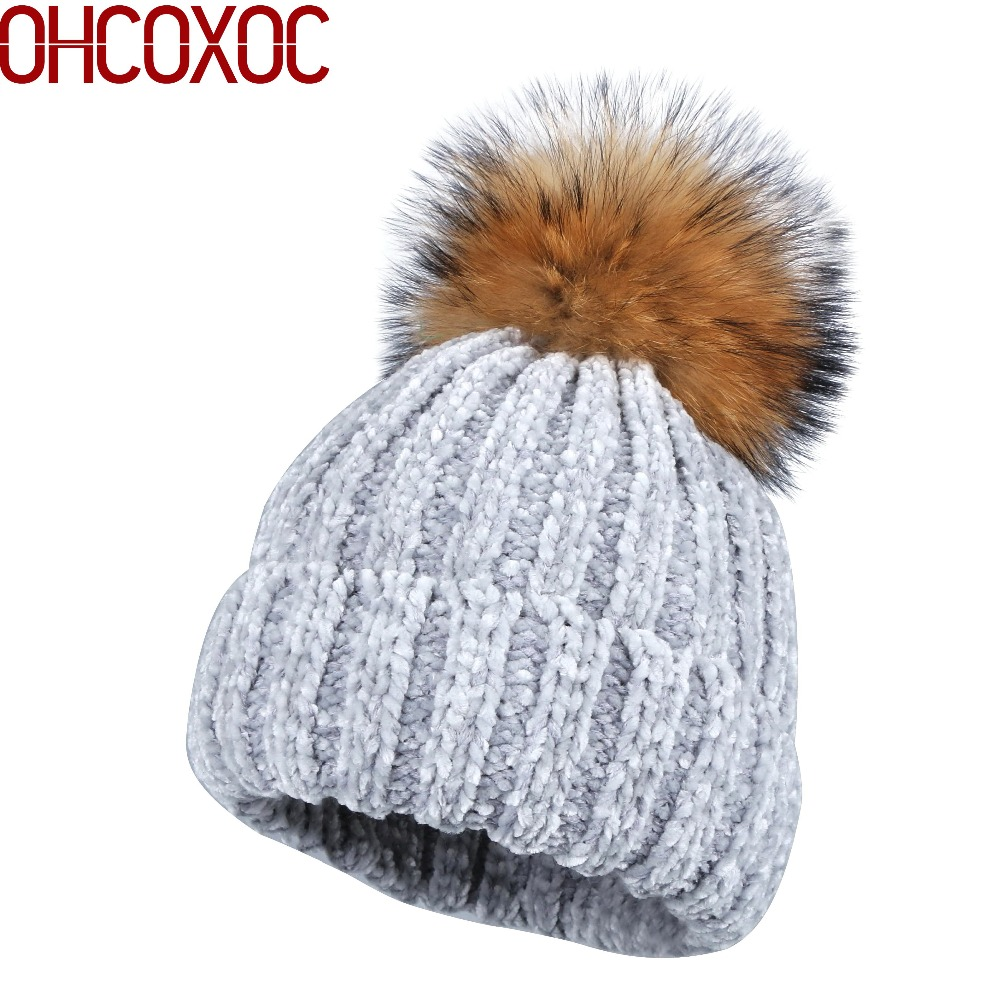 2018 women new Chenille winter hats real fox mink fur pompons ball striped pattern vintage casual skullies gorros pompom beanies