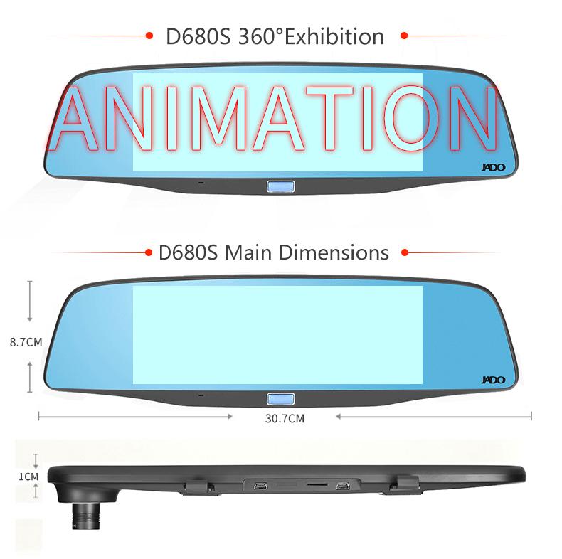 JADO D680S Car Dvr Camera Full HD 1080P Car Dvrs Dual Lens Recorder 6.86' Car Camera Dash cam ADAS Rearview Mirror Registrar 21