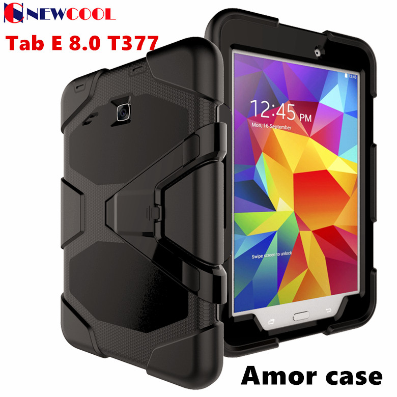 WES GLF Amor Heavy Duty case For Samsung Galaxy Tab E 8.0 T377 T377V SM-T375 Tablet case Silicone +PC Back Cover Kickstand Case