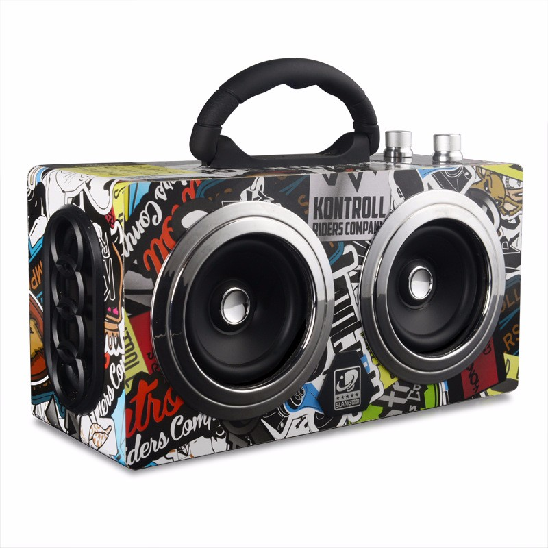 ФОТО 20W Wooden High Power Outdoor Bluetooth Speaker Wireless Stereo Super Bass Subwoofer Dancing Loudspeaker with fm radio sound car