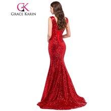 Grace Karin Mermaid Evening Dress 2017 Deep V Celebrity Vestidos Formal Golden Red Black Blue Sequins Special Occasion Dresses