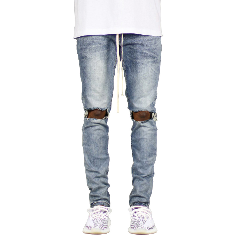 New Men's Ripped Side Ankle Zipper Skinny Stretch Fashion   Jeans