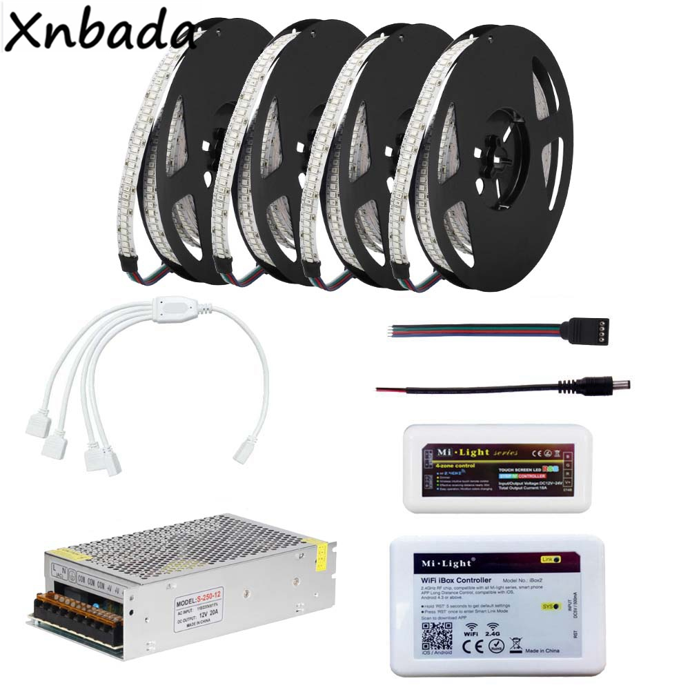 DC12V 2835SMD 234Leds/m RGB Led Strip Light,Milight WIFI IBOX RGB Led Controller Power Supply Kit 5M 10M 15M 20M good group diy kit led display include p8 smd3in1 30pcs led modules 1 pcs rgb led controller 4 pcs led power supply