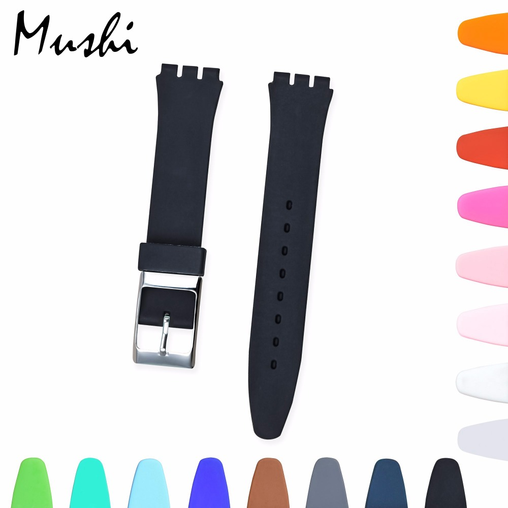 Watch Accessories for Swatch Strap Silicone Watchband Replacement Watch Band 17mm 19mm 20mm Rubber Strap Men Women Watch Strap top layer cowhide genuine leather watchband for swatch men women watch band wrist strap replacement belt bracelet 17mm 19mm 20mm