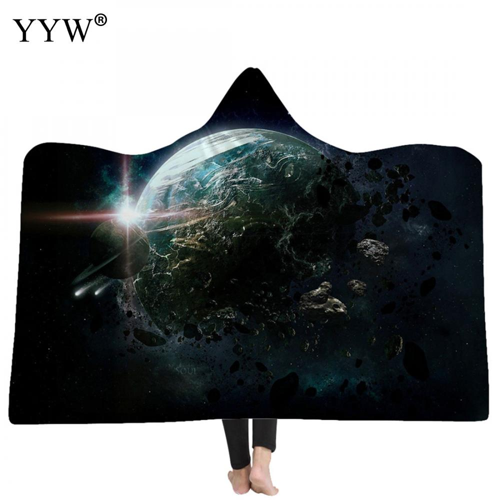 3d Printed Hooded Blanket Cloak Soft Fluffy Blankets Wearable Fleece Throw Blanket Travel Mantle Air Conditioner Throw For Adult