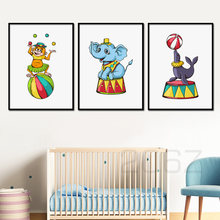 Cartoon Circus Troupe Olifant Aap Zeeleeuw Muur Canvas Schilderij Nordic Posters En Prints Muur Pictures Kinderkamer Decor(China)