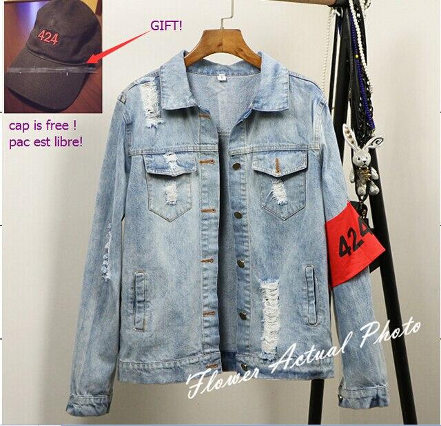 Fashion 424 jacket Kanye West Denim Jacket Hip Hop Pablo Ripped Oversized Jean Jacket Kanye Streetwear four two four