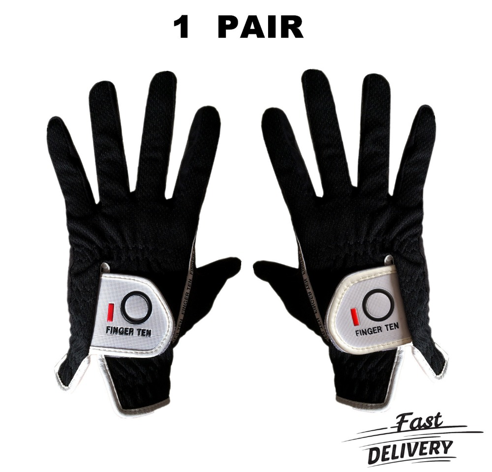 Finger Ten 1 Pair Men's Golf Gloves Rain Hot Wet Grip Left and Right Hand Pr Comfortable Fit Small Medium Large ML XL Gloves finger ten 1 pair men s golf gloves rain hot wet grip left and right hand pr comfortable fit small medium large ml xl gloves