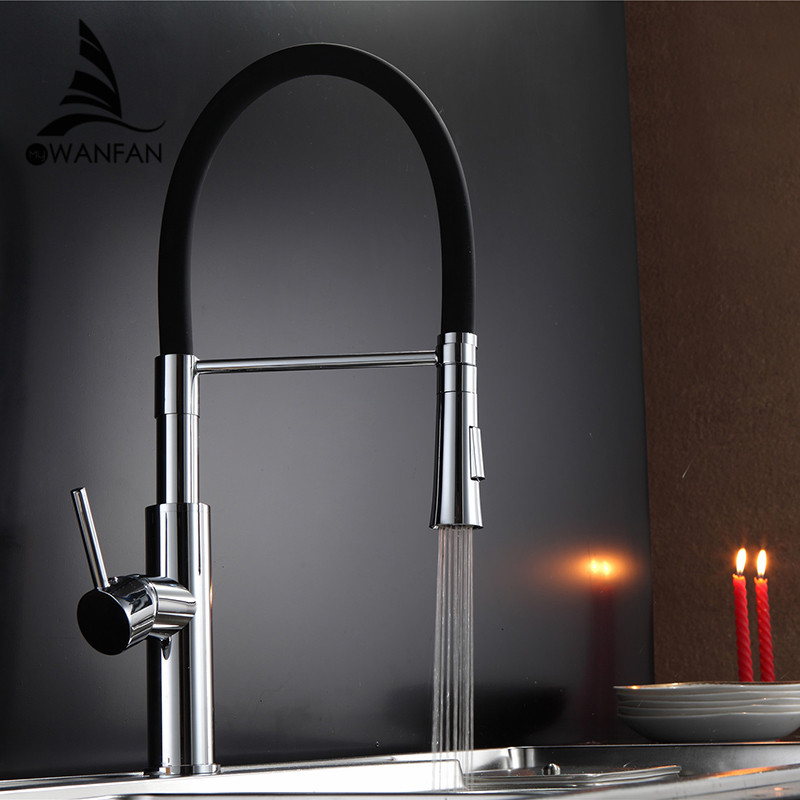 Black and Chrome Finish Kitchen Sink Faucet Deck Mount ...