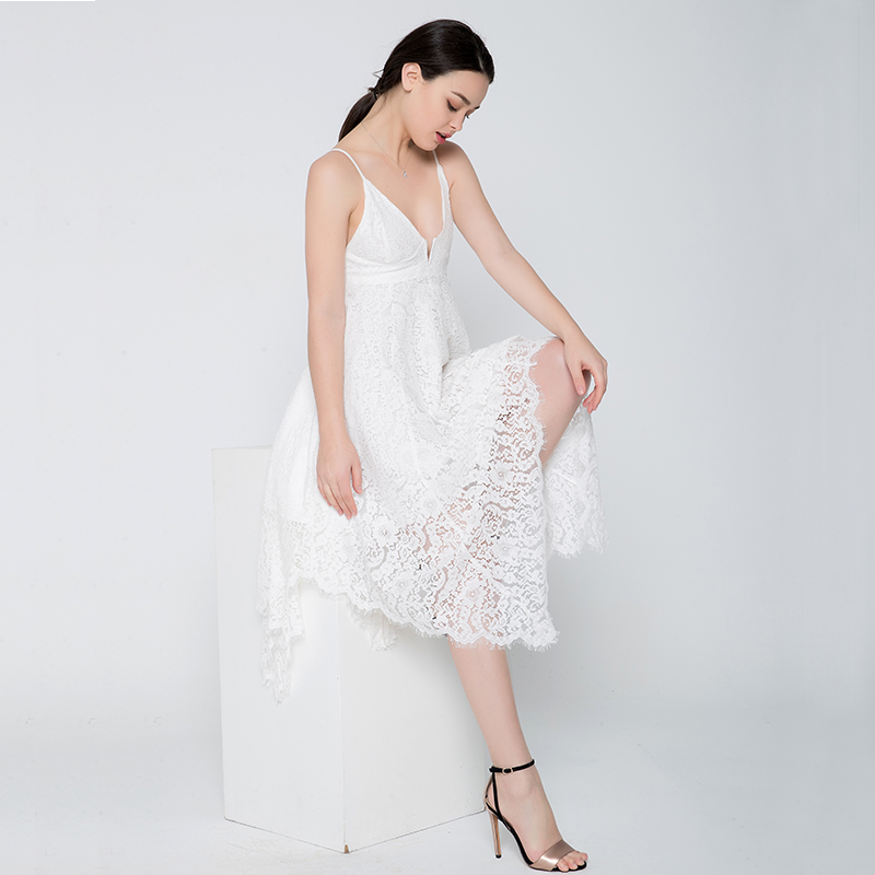 69160a710229 SALE 2019 vintage asymmetrical summer beach dress embroidery sexy Backless  sleeveless long white dress women party lace dress-in Dresses from Women s  ...