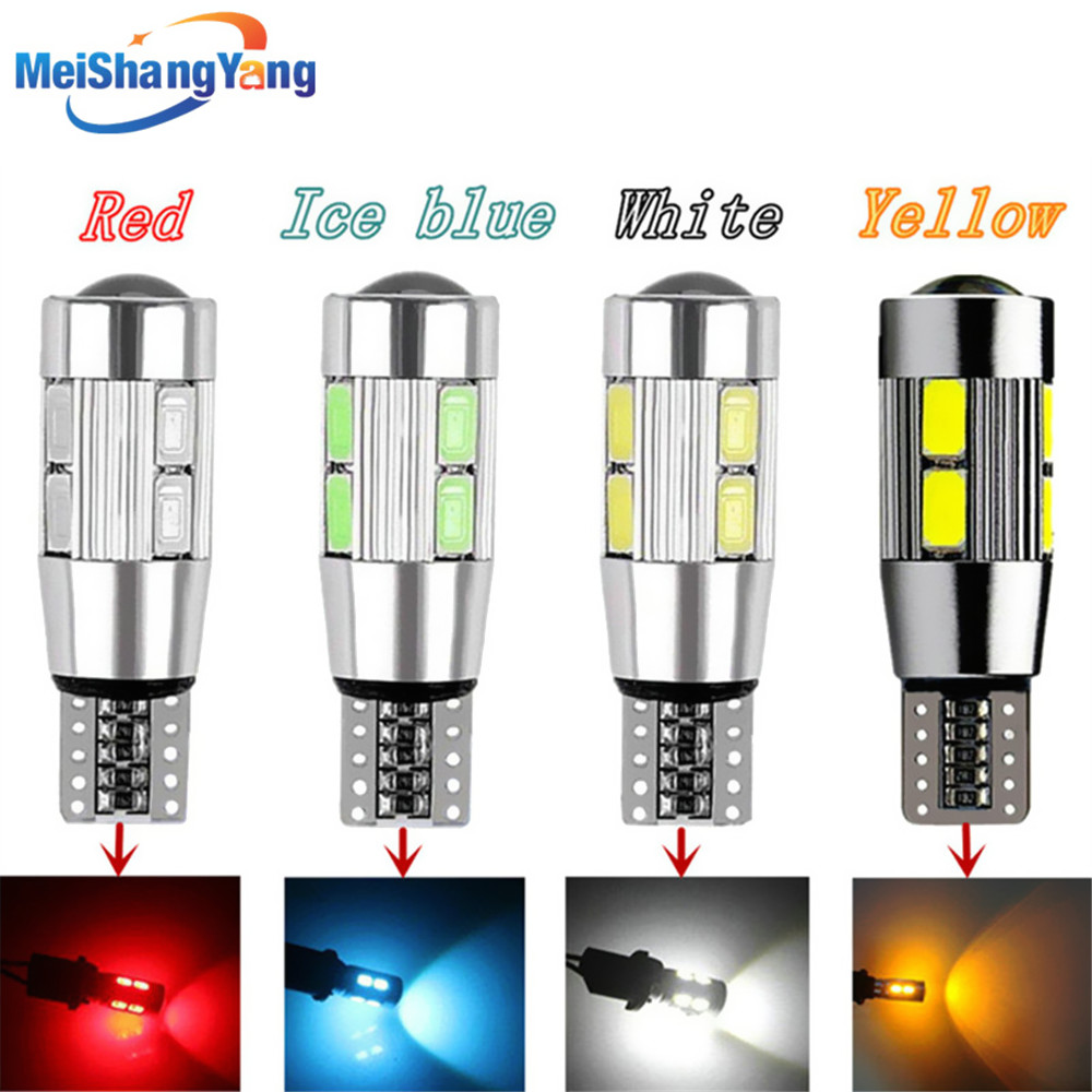 T10 W5W Led Bulbs 10SMD CANBUS OBC Error Free LED Lamp 501 dash Car LED bulbs interior Auto Lights Source parking 12V RGB White