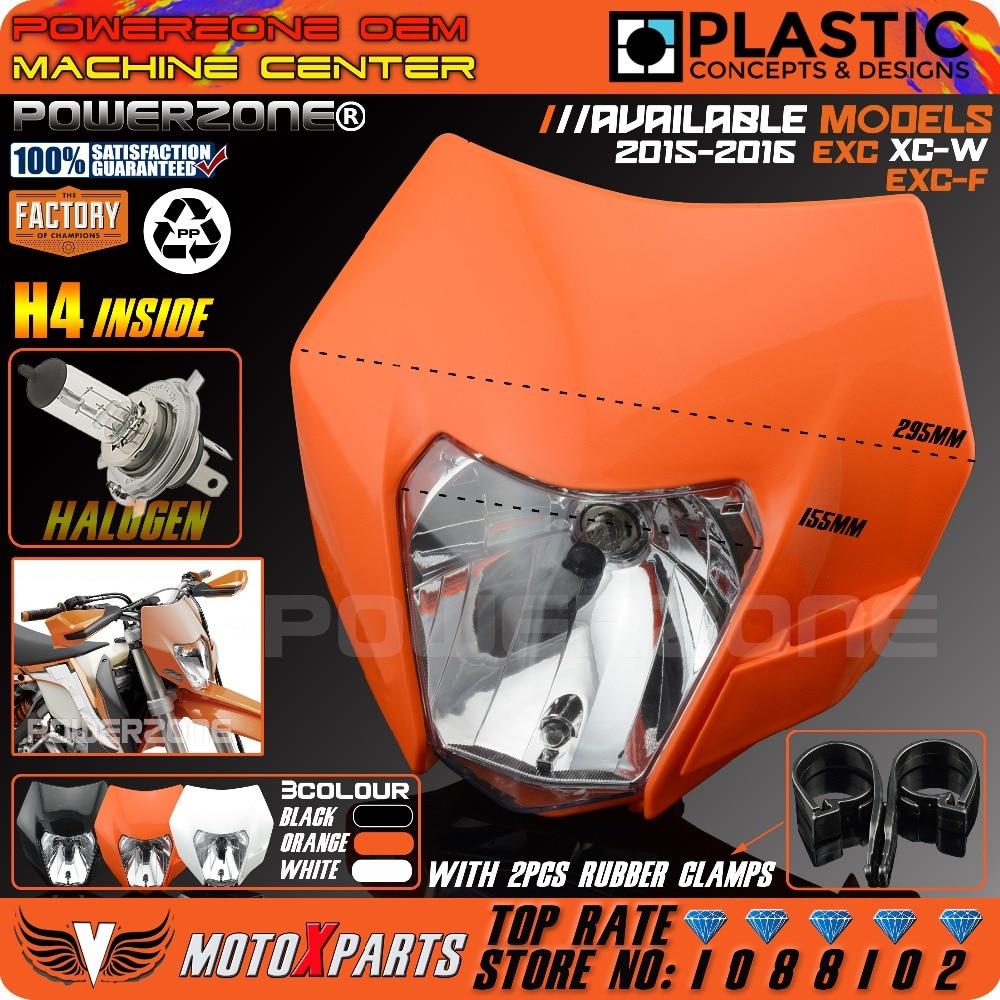 Prix pour PowerZone Phare Moto Dirt Bike Motocross Supermoto Universel Orange Pour KTM SX EXC XCF SXF SMR 2015 16 Projecteur