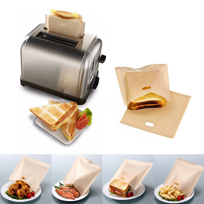 1 pc Toaster Bags for Grilled Cheese Sandwiches Made Easy Reusable Non-stick Baked Toast Bread Bags image