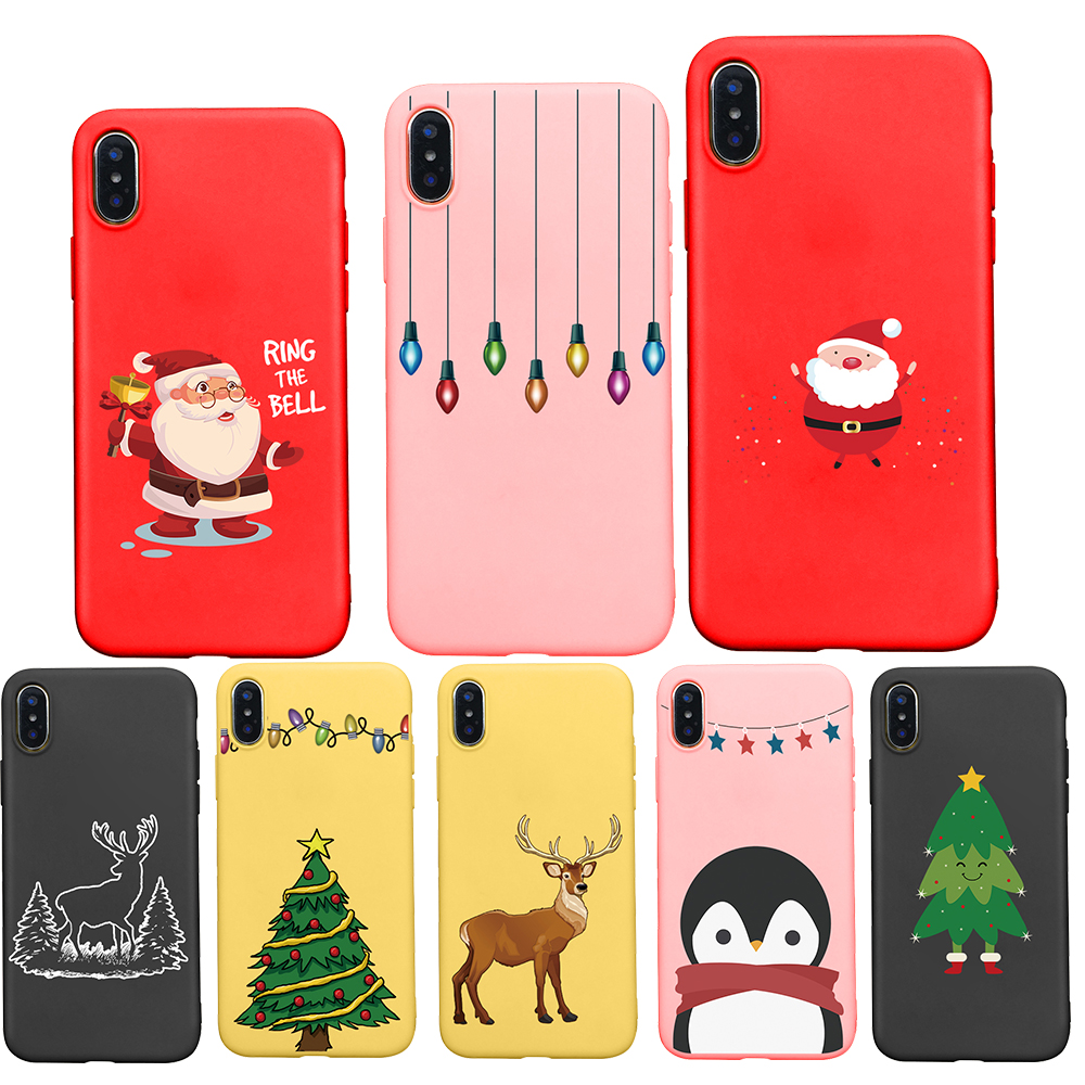 Cute Cartoon Christmas Phone case For Apple iPhone 7 7plus 8 6 6S Plus 5 5S Santa Claus Lamp Tree cover For iphone X XR XS Max