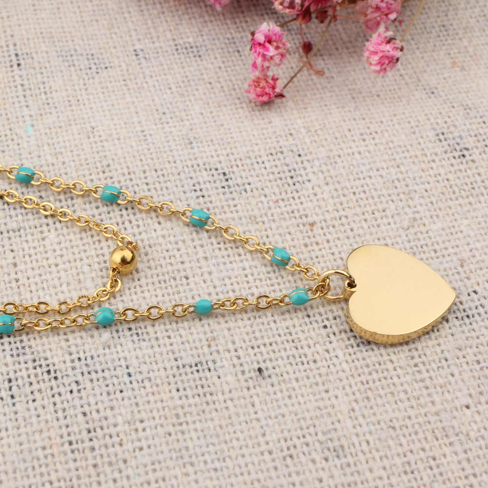 FINE4U N211 Gold Color Heart Pendants Necklace For Women Double Layer Stainless Steel Chain Rosary Beads Necklace Wholesale