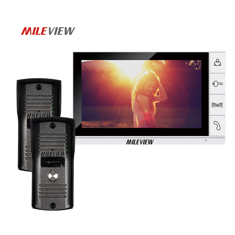 Brand New Wired 9 inch White Screen LCD TFT Video Intercom Door Phone System With Two Night Vision Outdoor Camera Free Shipping 7inch video door phone intercom system for 5apartment tft lcd screen 5 flat indoor monitor with night vision cmos outdoor camera