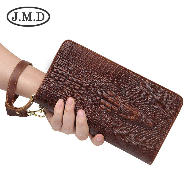 J.M.D 2019 New Arrival 100% Classic Leather Alligator Pattern Crazy Horse Leather Men's Brown Wallet Clutch Bag Checkbook(China)