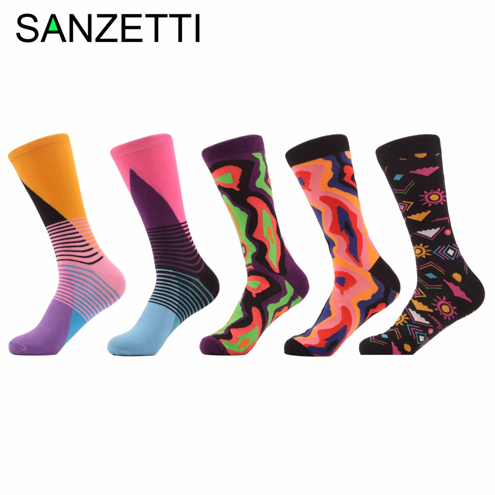 SANZETTI 5 pair/lot Newest Mens Colorful Combed Cotton Cool Skateboard Socks Funny Crew Causal Dress Wedding Socks Novelty Gift