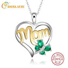 BONLAVIE Created Heart Green Butterfly 925 Sterling Silver Necklace Infinity Mom Birthday Necklace Best Mother Day Gift Jewelry(China)