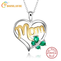 BONLAVIE Created Heart Green Butterfly 925 Sterling Silver Necklace Infinity Mom Birthday Necklace Best Mother Day Gift Jewelry