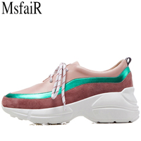 MSFSIR Women's Running Shoes Genuine Leather Women Sport Shoes Ladies Brand Athletic Run Walking Breathable Woman Sneakers