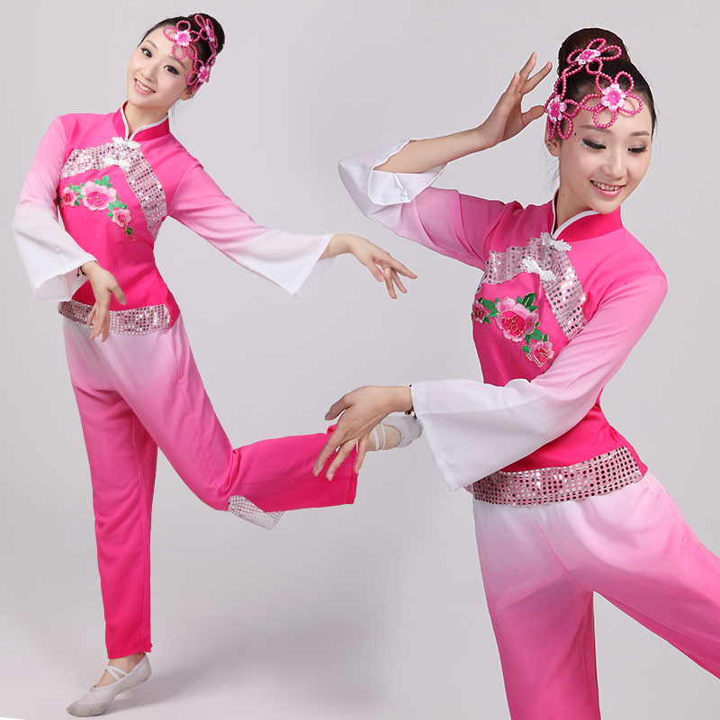 (0152) Younger dance costume drum fan dance clothes Chinese Folk Dance dress
