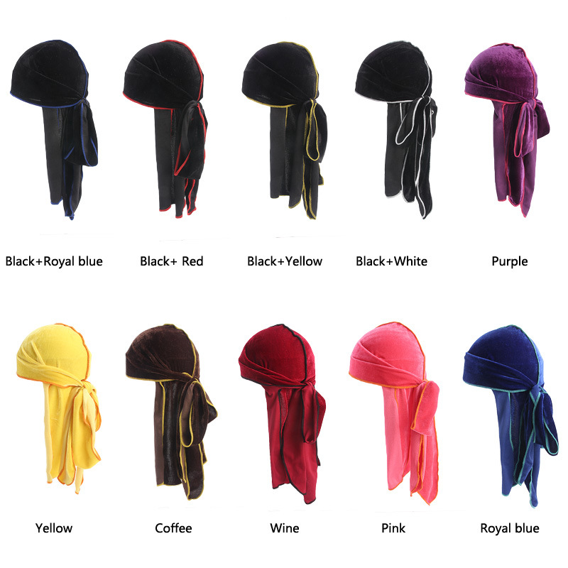 New Women Men s Velvet Bandana Turban Hat Wigs do Doo Durag rag long tail  headwrap chemo cap Headwear Pirate Hair Accessories da375ff860c2