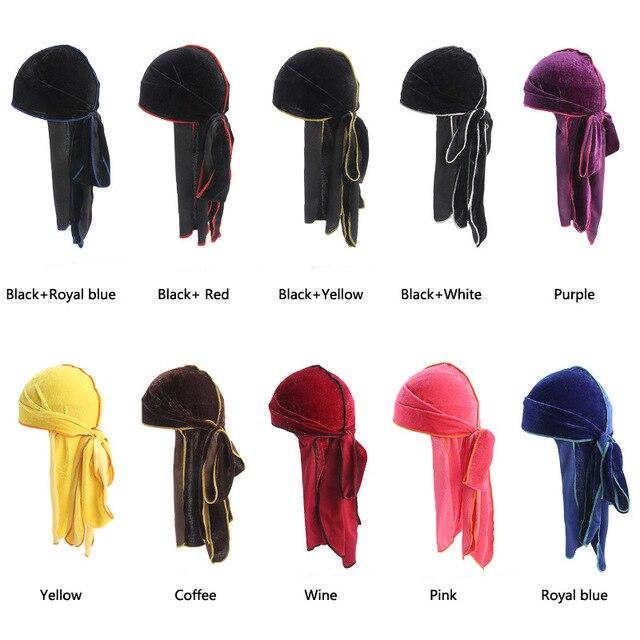 158038964f1 New Women Men s Velvet Bandana Turban Hat Wigs do Doo Durag rag long tail  headwrap chemo