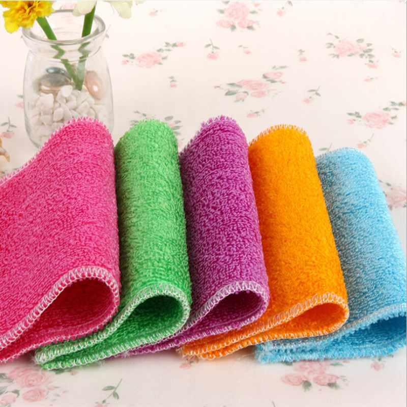 1PCS Dish Cloth  Bamboo Fiber High Efficient Anti-grease Washing Towel Magic Kitchen Cleaning Wiping Rag Six Colors