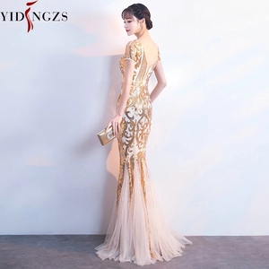 Image 3 - YIDINGZS Gold Sequins Party Formal Dress Short Sleeve Beads Sexy Long Evening Dresses YD089