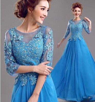 Перспективное сексуальное синее кружевное платье с длинными рукавами vestido mae da noiva платье для матери невесты платье на свадьбу - Цвет: as picture
