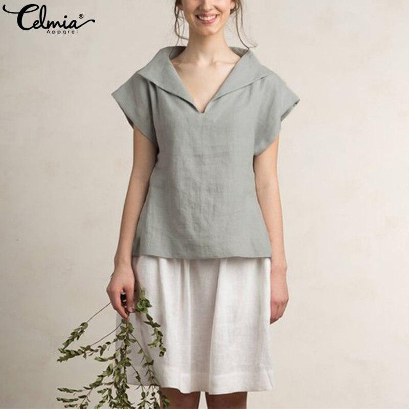 Celmia Blusas Feminina Women Vintage Blouse 2018 Summer Linen Tops Lapel V Neck Short Sleeve Solid Casual Loose Shirts Plus Size