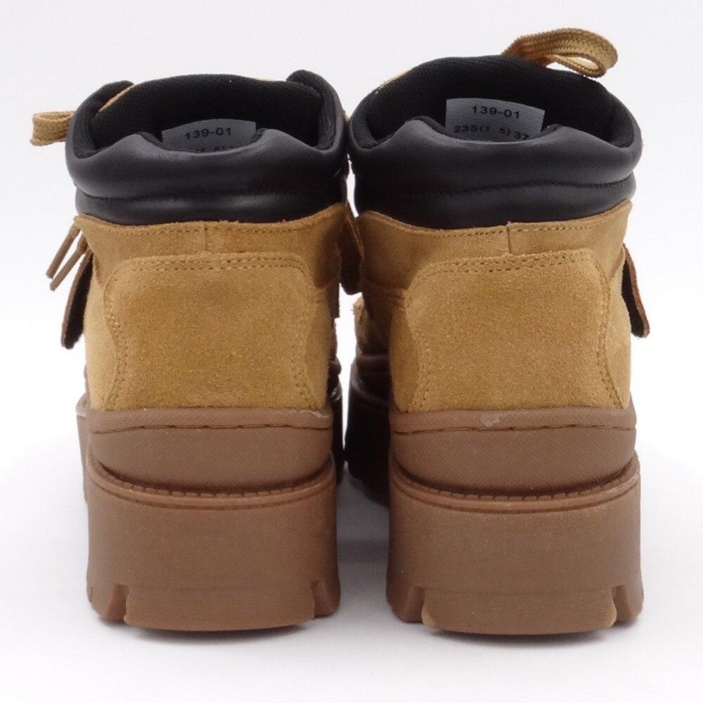 Tornozelo botas femininas 2020 inverno camurça tornozelo boot feminino rendas até apartamentos plataforma confortável punk boot preto sapatos marrons - 3